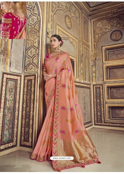Peach Wedding Designer Embroidered Satin Silk Sari