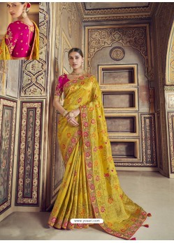 Yellow Wedding Designer Embroidered Satin Silk Sari