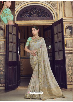 Light Grey Wedding Designer Embroidered Satin Silk Sari