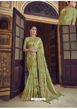 Green Wedding Designer Embroidered Satin Silk Sari