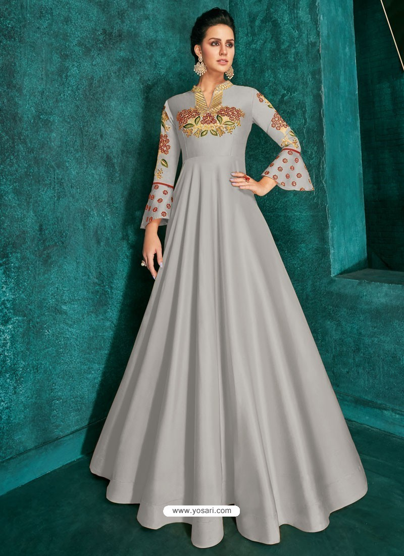 Light Grey Heavy Embroidered Designer Gown For Girls