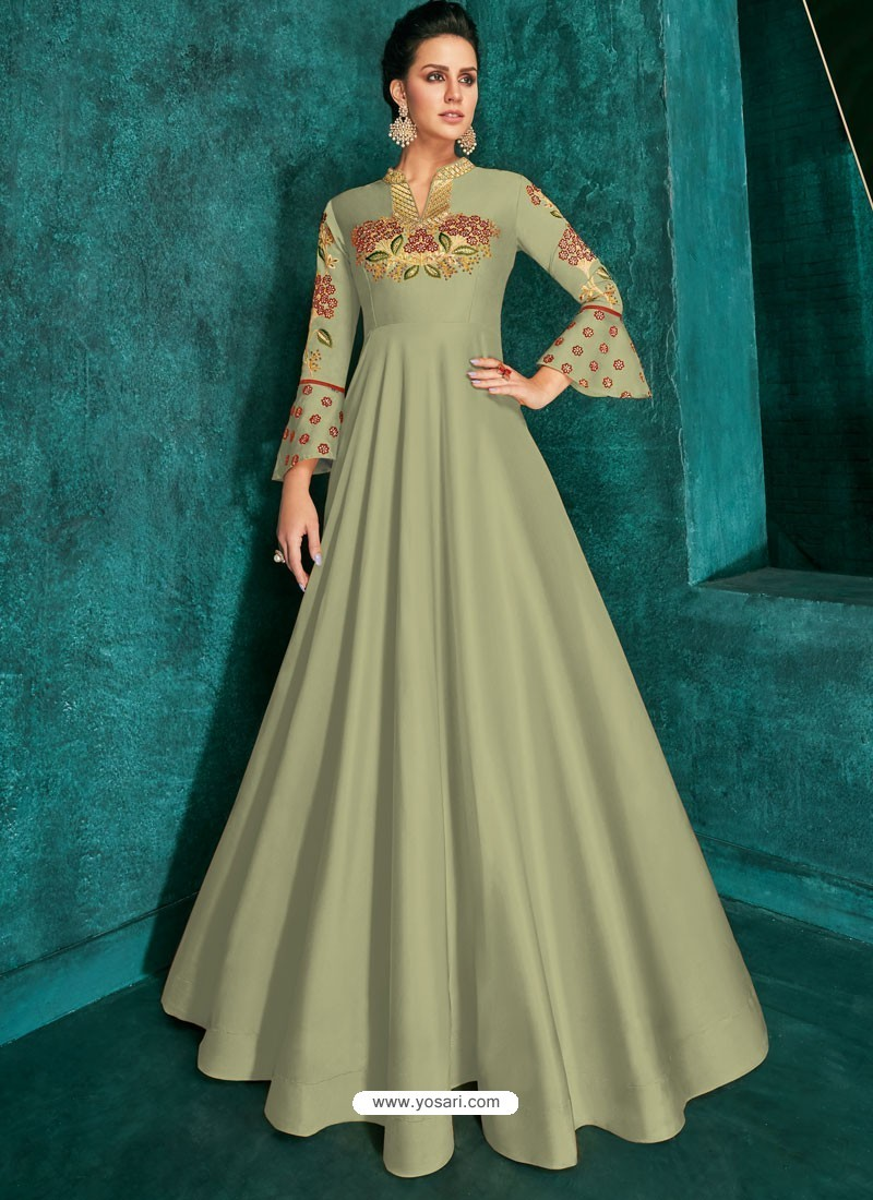 Olive Green Heavy Embroidered Designer Gown For Girls
