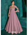 Dusty Pink Heavy Embroidered Designer Gown For Girls