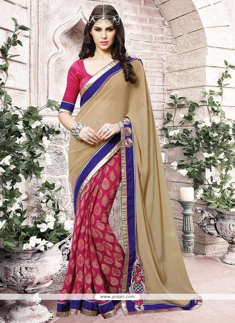 Amusing Hot Pink And Beige Embroidered Work Jacquard Half N Half Saree