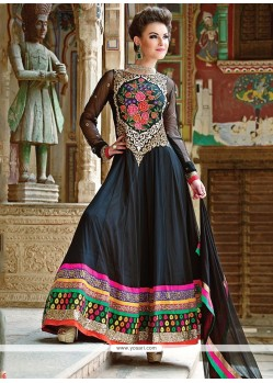Lovely Black Georgette Resham Anarkali Suits