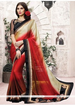 Intricate Chiffon Satin Cream And Maroon Casual Saree