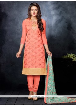 Intricate Orange Chanderi Cotton Churidar Salwar Kameez