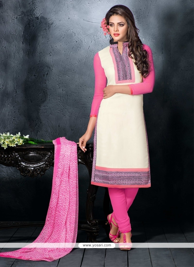 Brilliant Resham Work Chanderi Cotton Churidar Designer Suit