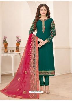 Dark Green Designer Party Wear Georgette Churidar Salwar Suit