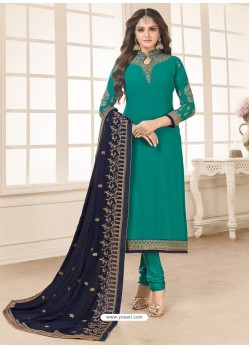Teal Designer Party Wear Georgette Churidar Salwar Suit