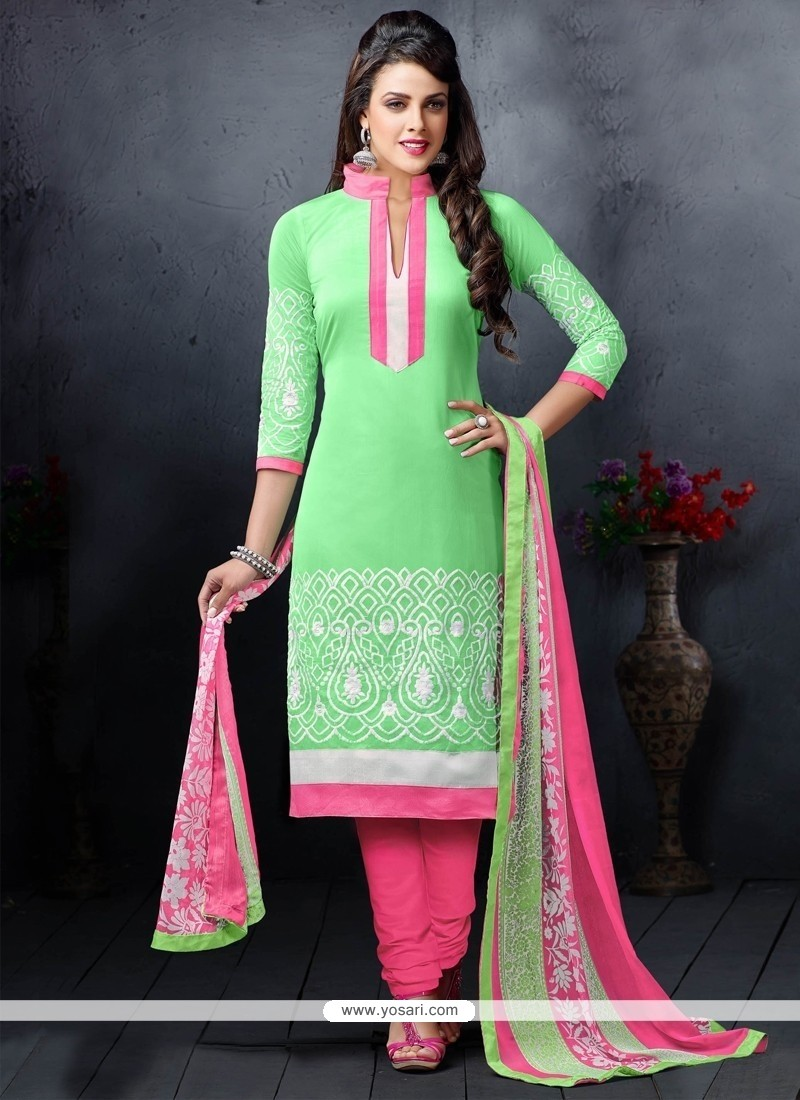 Fine Chanderi Cotton Green Embroidered Work Churidar Salwar Suit