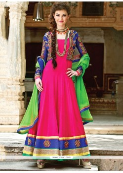 Elite Blue And Magenta Georgette Anarkali Suits