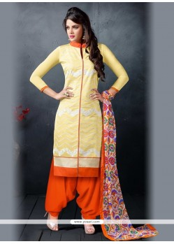Artistic Chanderi Cotton Patiala Suit