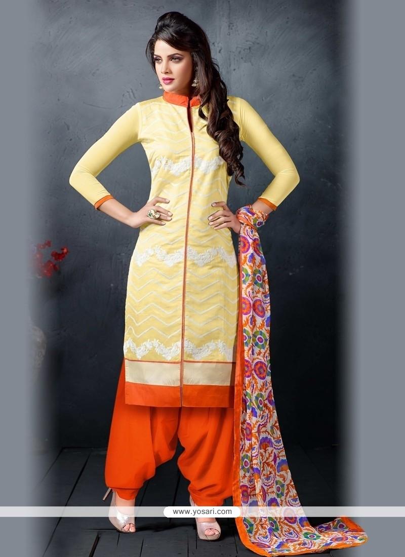 Artistic Chanderi Cotton Patiala Suit