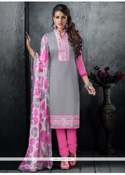 Radiant Resham Work Chanderi Cotton Churidar Designer Suit