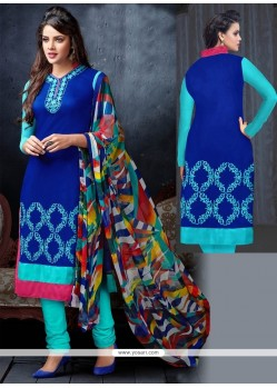 Luxurious Embroidered Work Blue Churidar Salwar Suit
