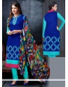 Luxurious Embroidered Work Blue Churidar Salwar Suit