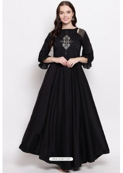 Black Readymade Designer Party Wear Heavy Viscose Muslin Floor Length Kurti