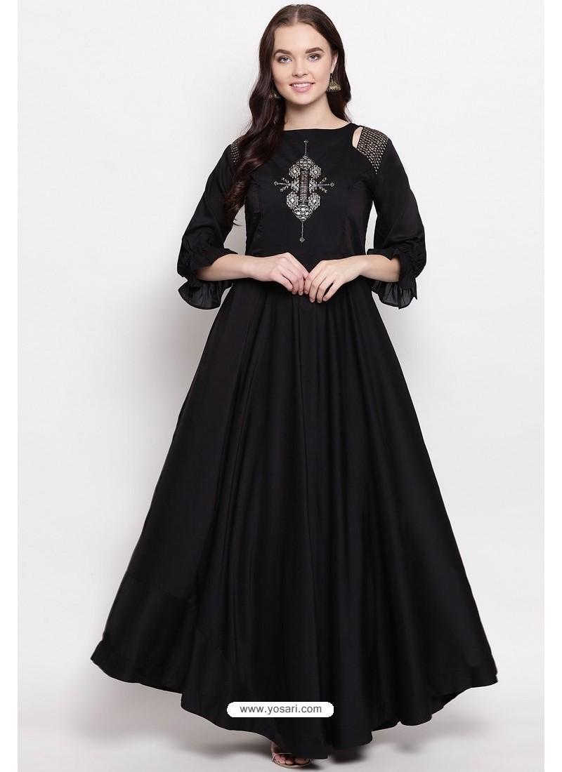 Black Readymade Designer Party Wear Heavy Viscose Muslin Floor Length Kurti