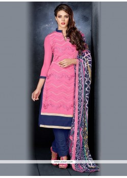 Sumptuous Hot Pink Lace Work Chanderi Cotton Churidar Salwar Kameez