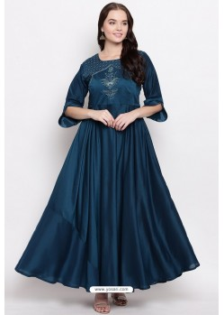Dark Blue Readymade Designer Party Wear Heavy Viscose Muslin Floor Length Kurti