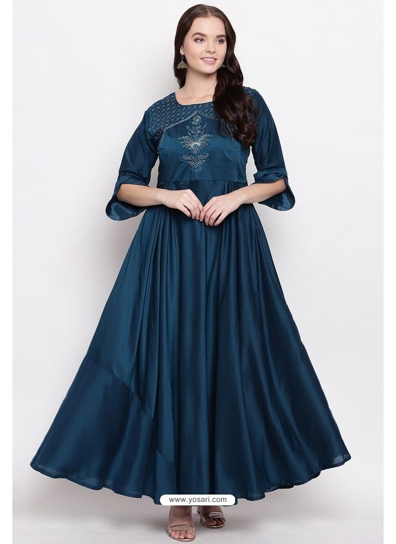 Dark Blue Readymade Designer Party Wear Heavy Viscose Muslin Floor Length Kurti