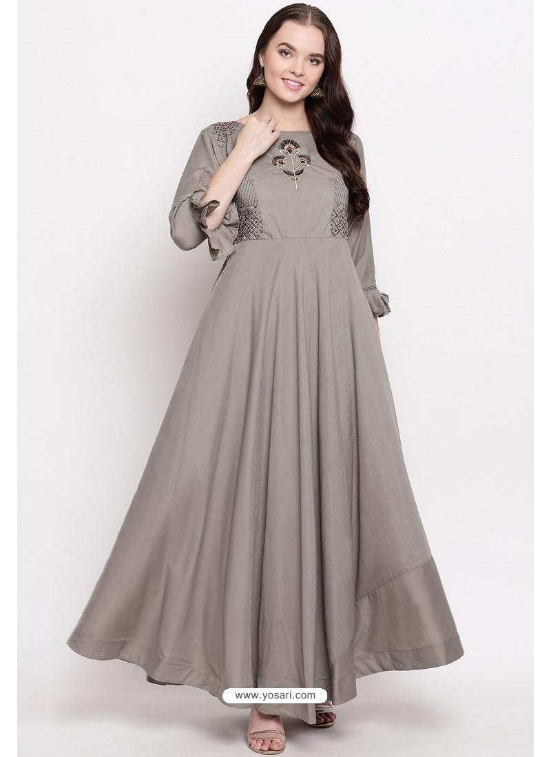 Silver Readymade Designer Party Wear Heavy Viscose Muslin Floor Length Kurti