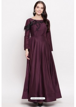 Deep Wine Readymade Designer Party Wear Heavy Viscose Muslin Floor Length Kurti