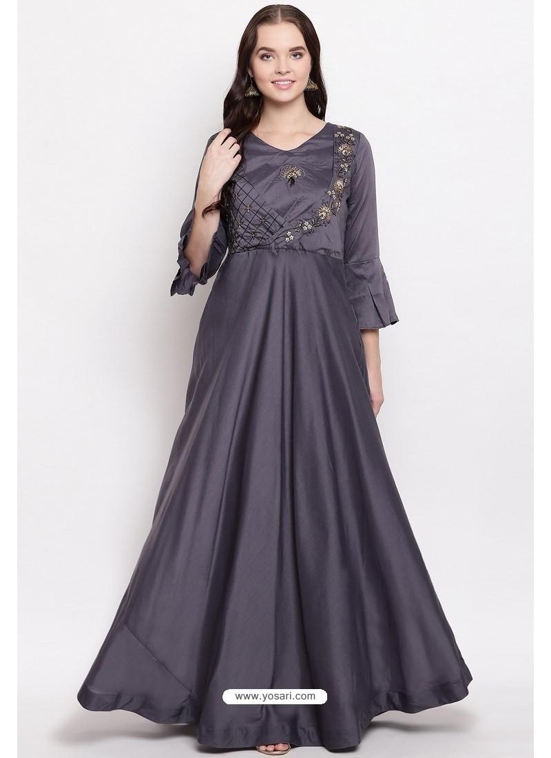 Grey Readymade Designer Party Wear Heavy Viscose Muslin Floor Length Kurti