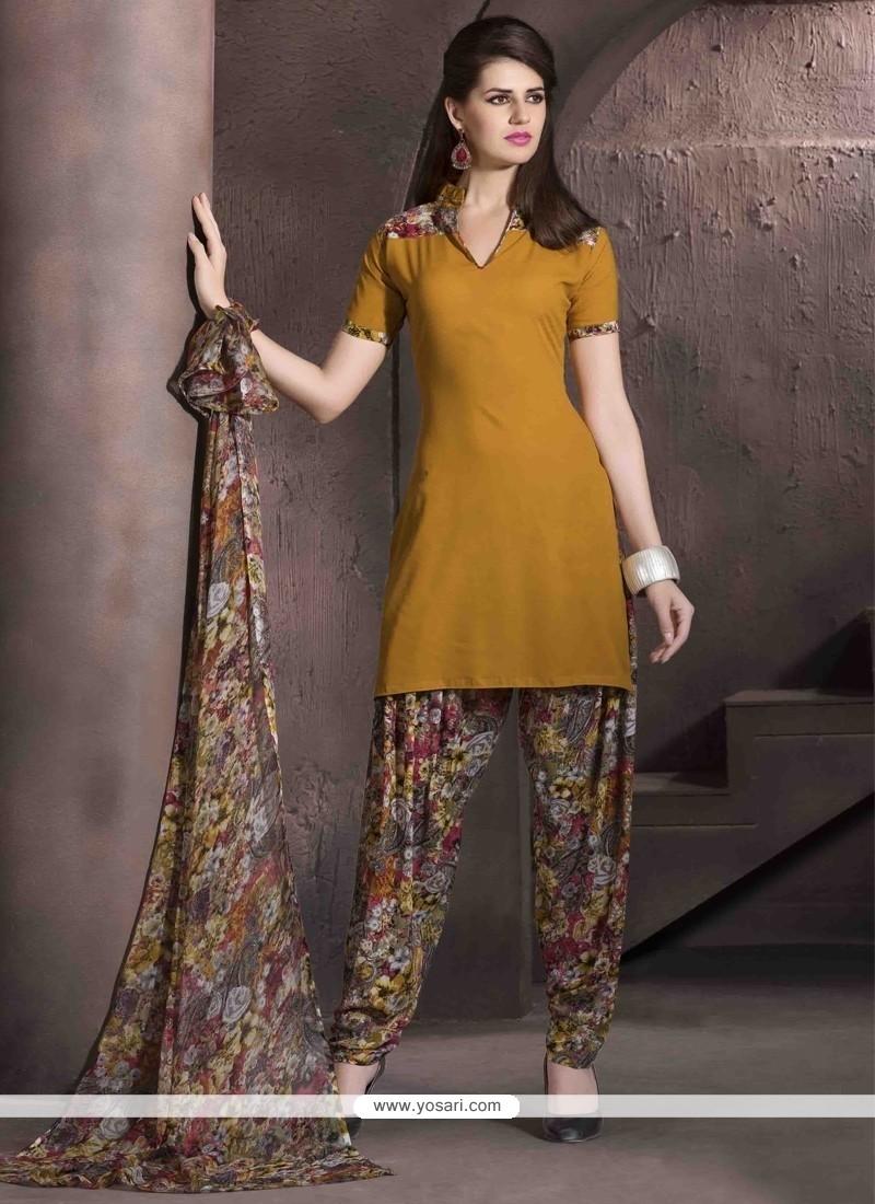 Prepossessing Faux Crepe Mustard Print Work Designer Patiala Salwar Kameez