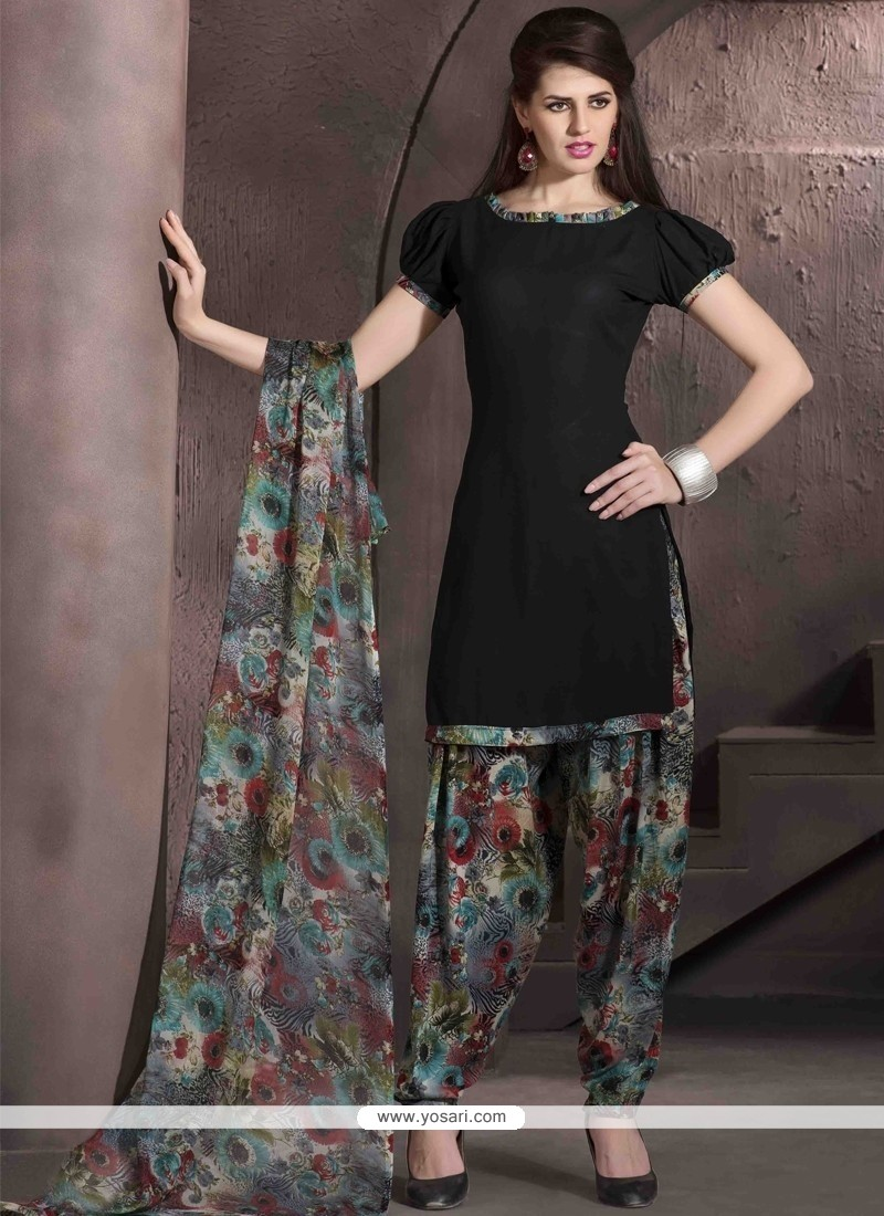 Immaculate Faux Crepe Black Designer Patiala Salwar Kameez