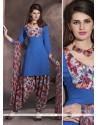Charismatic Faux Crepe Blue Print Work Designer Patiala Salwar Kameez