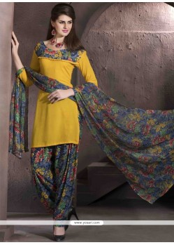 Astonishing Faux Crepe Designer Patiala Salwar Kameez