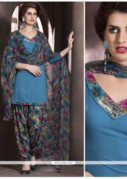 Hypnotizing Print Work Blue Faux Crepe Designer Patiala Salwar Kameez