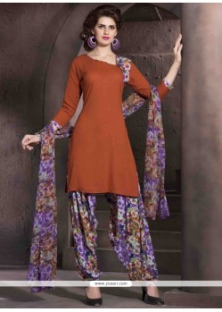 Lovable Print Work Brown Designer Patiala Salwar Kameez