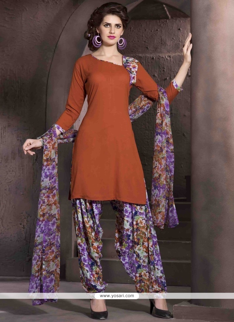 Lovable Print Work Brown Designer Patiala Salwar Kameez