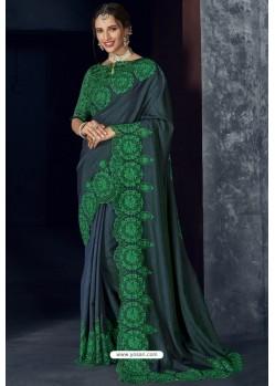 Carbon Latest Designer Embroidered Party Wear Silk Sari