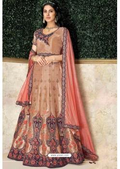 Light Orange Heavy Embroidered Designer Wedding Lehenga Choli