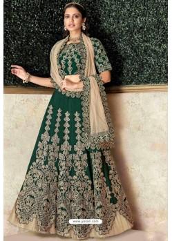 Dark Green Heavy Embroidered Designer Wedding Lehenga Choli
