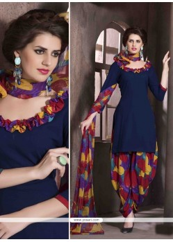 Astounding Faux Crepe Navy Blue Print Work Designer Patiala Salwar Kameez