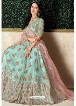 Sea Green Heavy Embroidered Designer Wedding Lehenga Choli