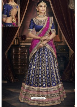 Dark Blue Heavy Embroidered Designer Wedding Lehenga Choli