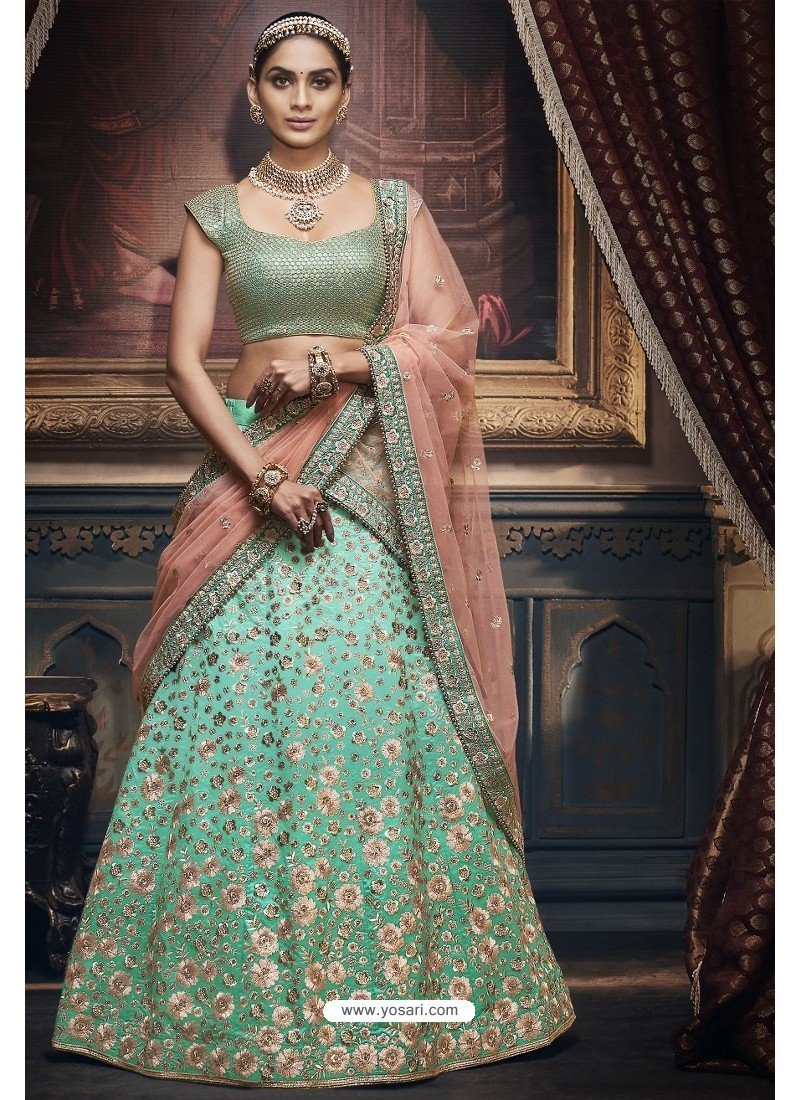 Aqua Mint Heavy Embroidered Designer Wedding Lehenga Choli