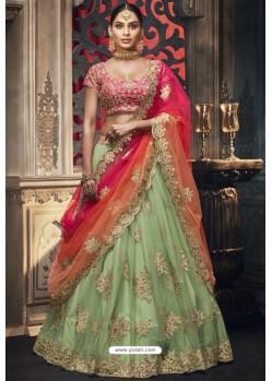 Green Heavy Embroidered Designer Wedding Lehenga Choli