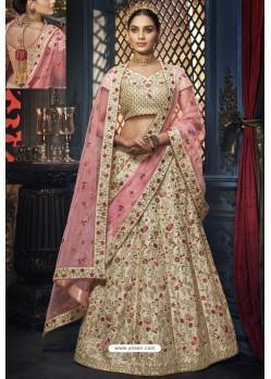 Light Beige Heavy Embroidered Designer Wedding Lehenga Choli
