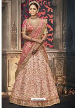 Baby Pink Heavy Embroidered Designer Wedding Lehenga Choli