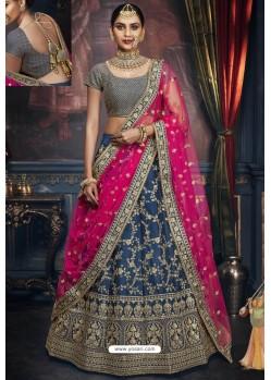 Teal Blue Heavy Embroidered Designer Wedding Lehenga Choli