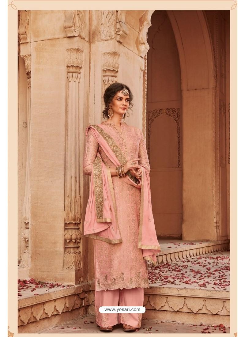 Baby Pink Designer Party Wear Banarsi Jacquard Palazzo Salwar Suit