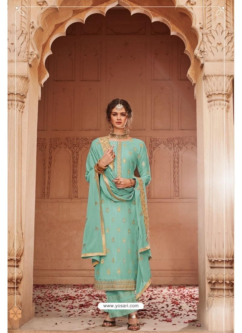 Aqua Mint Designer Party Wear Banarsi Jacquard Palazzo Salwar Suit