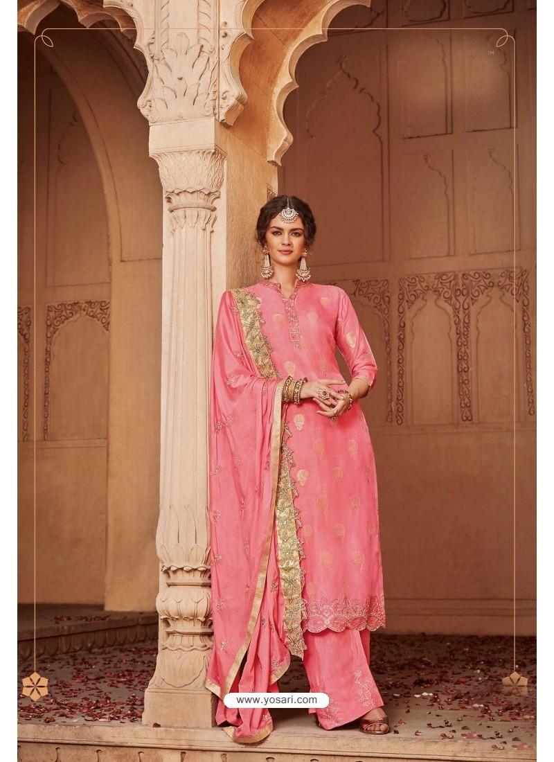 Peach Designer Party Wear Banarsi Jacquard Palazzo Salwar Suit